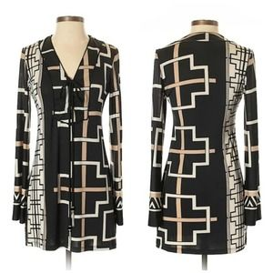 Analili Black, White, & Tan Geometric Print Dress